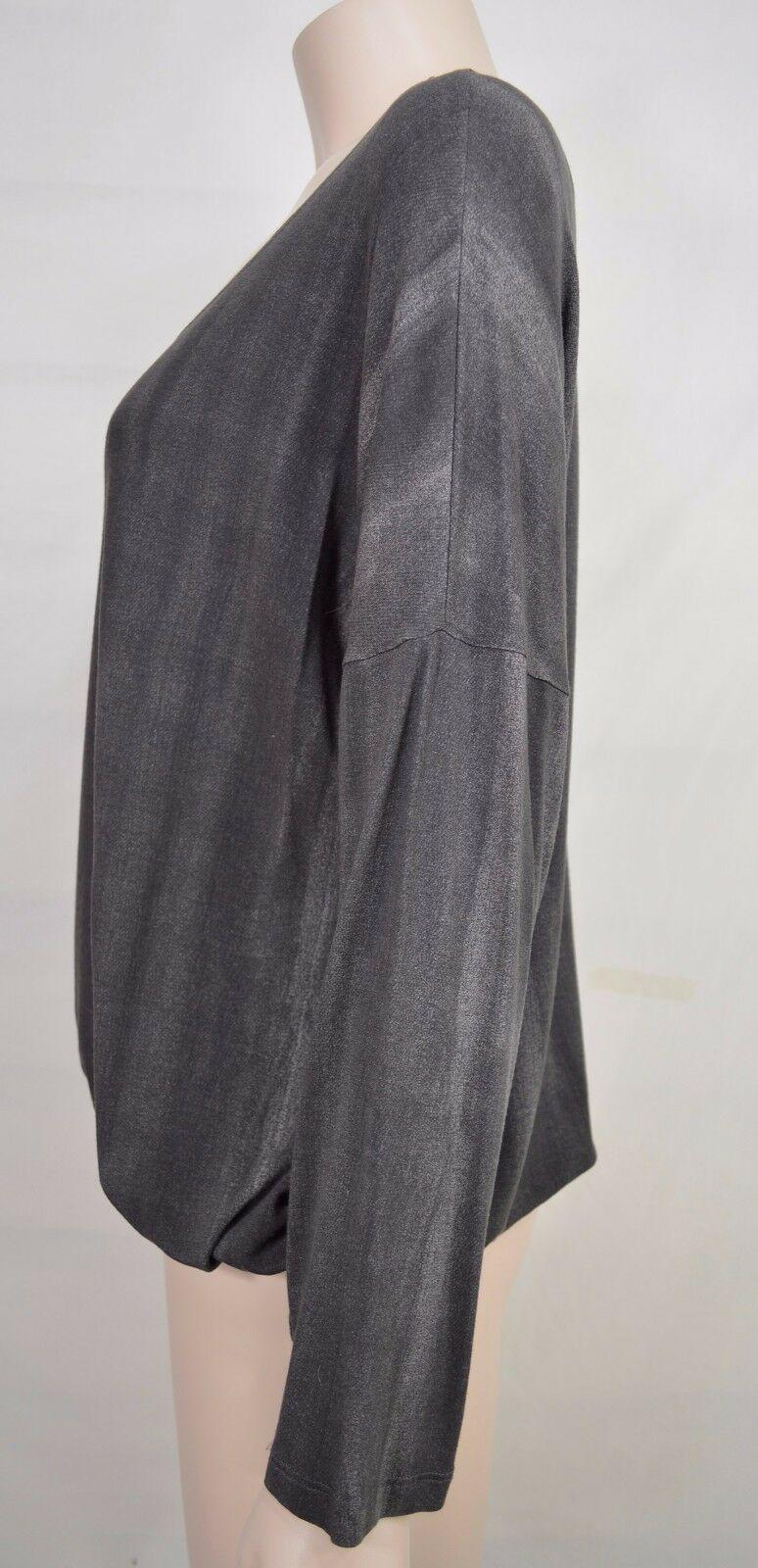 Matti Mamane top SZ M NWT dark gray drawstring waist scoop neck 3/4 sleeve new image 3