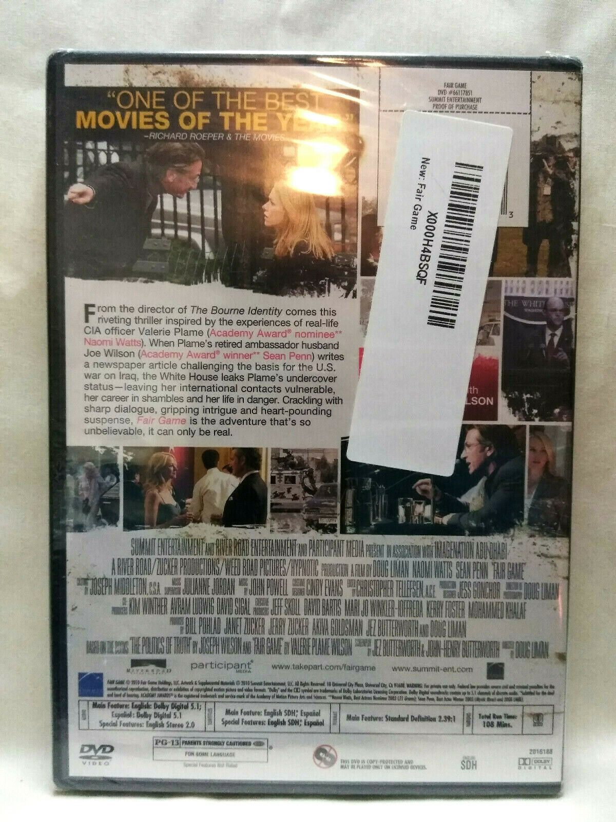 Fair Game (DVD, 2011) New Sealed Naomi Watts, Sean Penn image 3