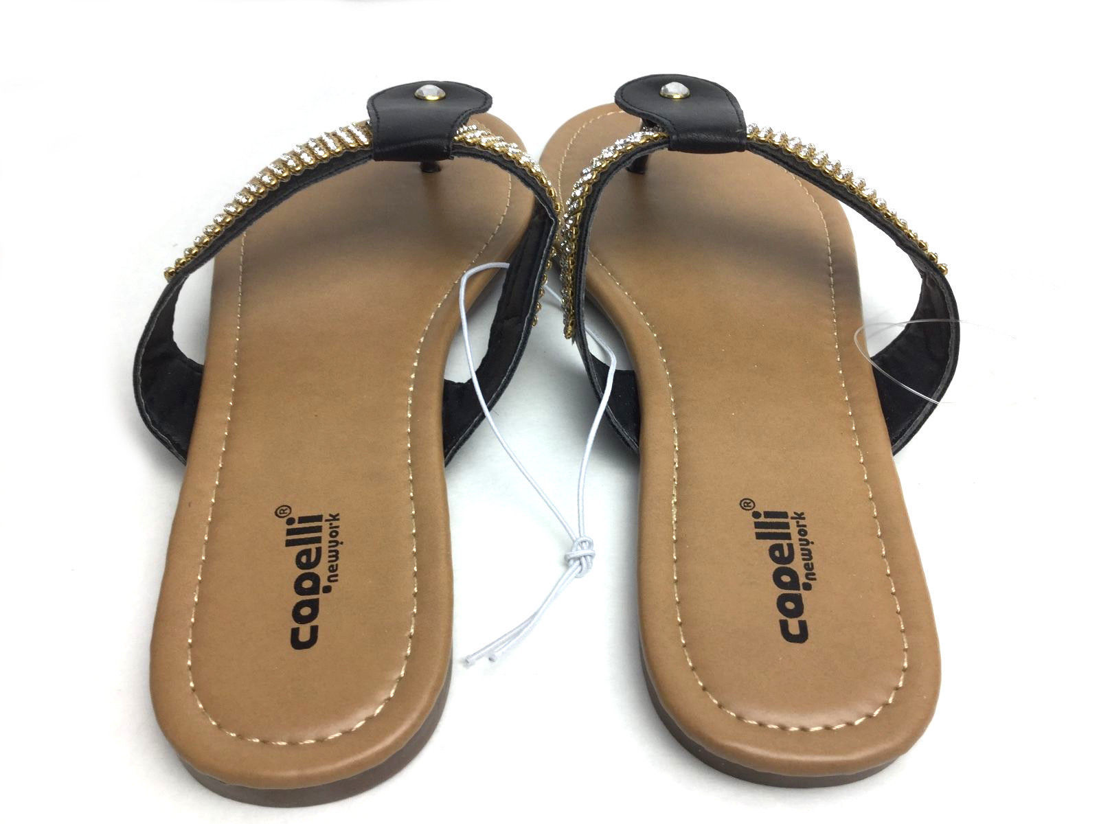 Capelli Women's Black Fancy Embellished Sandals Size 8 Jeweled Flip Flops