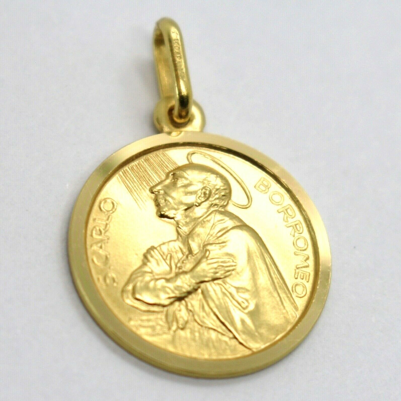 SOLID 18K YELLOW GOLD MEDAL, SAINT CARLO CHARLES BORROMEO, 17 mm DIAMETER image 2