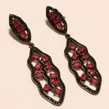 Natural Burmese Red Ruby Gemstone 925 Sterling Silver Black Rhodium Jewelry Gift - $42.43