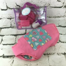 Baby Doll Accessories Lot 6 Piece Feeding Set W/Travel Case And Pink Car... - $14.84