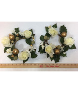 """Candle Rings Pair Set White Rose Gold Fruit Berry Artificial 10"""" Wedding... - $14.84"""