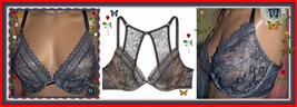 32D Navy ALL Lace Very S exy Back Victorias Secret Unlined Uplift Plunge UW Bra  - $34.99