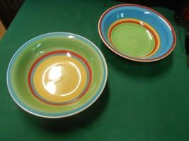"Great Royal Norfolk Stoneware Multicolor Set Of 2 Bowls 7.5"" - $11.47"