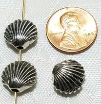 SCALLOP SHELL BEAD 3D FINE PEWTER BEAD 11x12x6mm; HOLE 2mm image 2