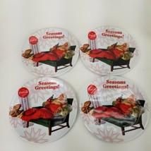 "Gibson 10.5"" Coca Cola Santa Claus Christmas Melamine Plates Set Of 4 Holiday - $23.36"