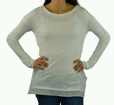Calvin Klein Womens Sweater Knit Top 2ply  Chiffon Trim Pullover Ivory L... - $15.84