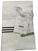 Pottery Barn Grand Embroidered Sham White With Black embroidery Euro Size NWT - $29.50