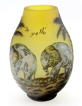 Cameo Glass Art Nouveau Embossed Vase with Elep... - $77.12