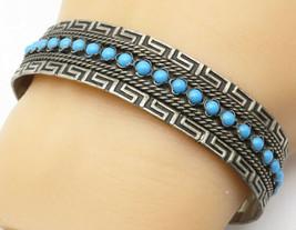 925 Silver - Vintage Turquoise Bead Detail Greek Key Cuff Bracelet - B4925 - $69.28