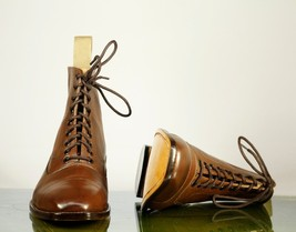 Handmade Men's Brown Leather Cap Toe High Ankle Lace Up Boots image 6