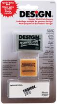 Design Art Erasers 3/Pkg- - $2.44