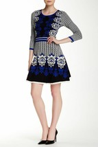 ECI New York Women's Black Print Knit Flare Sweater Dress - $34.37
