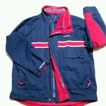 VTG Tommy Hilfiger Jacket 90's Spell Out Colorblock Flag Coat Sailing Lotus XL - $119.99