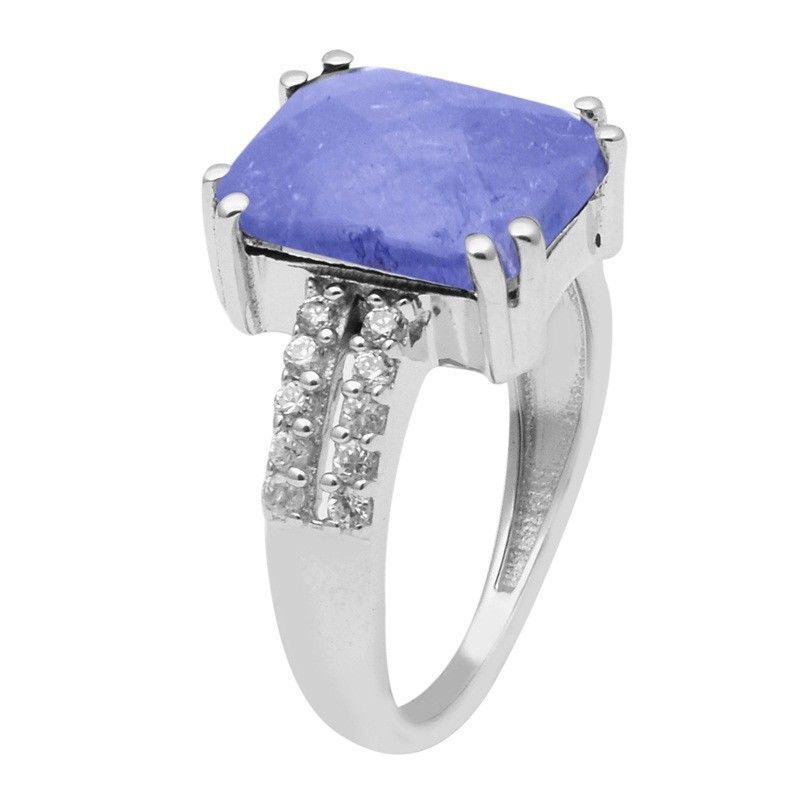 2.5 Ctw Tanzanite With White Topaz Sterling Silver Ring Jewelry Size-9 SHRI1480