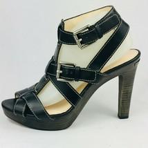 Coach Women's Stefanie Platform Sandals Black Leather Size 10M - $49.49