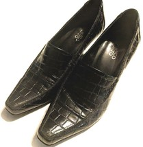 "Franco Sarto 3"" heels pumps Size 7.5 M black croc embossed - $14.83"