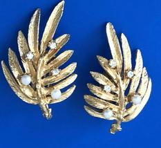 Vintage 60s Judy Lee Leaf Clip On Earrings Signed Elegant Gold Rhineston... - $27.99