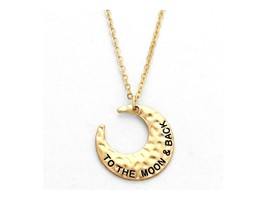 To The Moon & Back Engraved Crescent Pendant Necklace - $12.95
