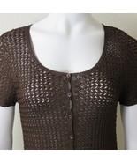 Vintage 90s Emma James Liz Claiborne Brown Crochet Knit Top Size M Butto... - $39.55