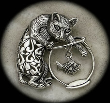.925 Sterling Silver Cat in the Fishbowl Brooch - $85.00