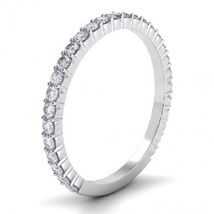 14k White Gold Plated 925 Silver Round Cut CZ Half Eternity Wedding Band Ring - £36.80 GBP