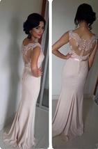 Scoop Neck Sheath Chiffon Prom Dresses Lace Appliques Floor Length Party Dresses - $159.90