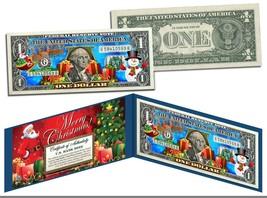 MERRY CHRISTMAS Colorized $1 Bill U.S. Legal Tender SANTA SNOWMAN Jingle... - $8.95