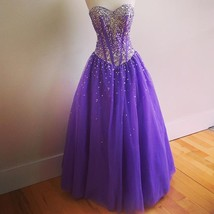 Sweetheart Neck Tulle Purple Prom Dresses Cyrstals Party Dresses Custom Made - $189.90