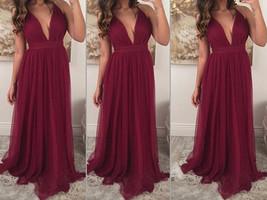 Deep V-neck Long Chiffon Prom Dresses Floor Length Custom Made Party Dresses - $159.90