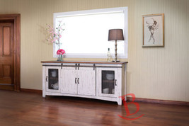 """Anton White 80"""" Barn Door TV Stand - Sliding Door Console - Real Wood - ... - $1,084.05"""