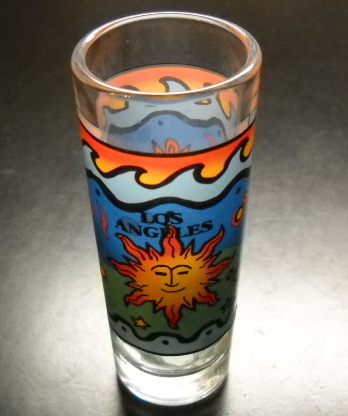 Primary image for Los Angeles Shot Glass Tall Size Brightly Colored Stylized Panels of Sun Scenes