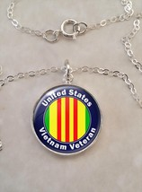 Sterling Silver 925 Pendant Necklace United States Vietnam Veteran - £23.18 GBP+