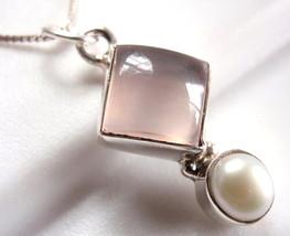 Cultured Pearl and Rose Quartz Pendant 925 Sterling Silver Corona Sun Je... - $248,84 MXN