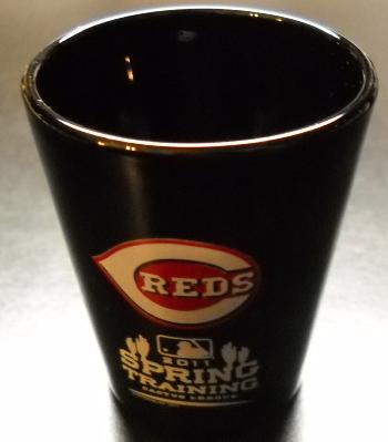 Cincinnati Reds Shot Glass 2011 Spring Training Cactus League Black Red White