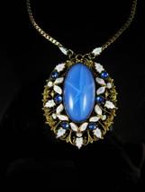 Czech Necklace Vintage Max Neiger 1920 ART Deco BLUE enamel glass Victorian  - $245.00