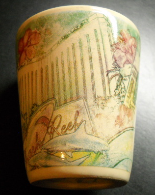 Mandalay Bay Las Vegas Shot Glass Ceramic Cream Outer with Stylized Designs
