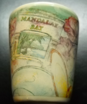 Mandalay Bay Las Vegas Shot Glass Ceramic Cream Outer with Stylized Designs - $6.99
