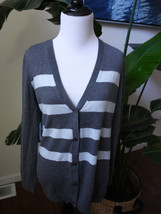 gap striped blue gray v-neck cardigan sweater wool blend M Medium - $15.67