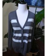 gap striped blue gray v-neck cardigan sweater wool blend M Medium - $15.67