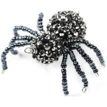 Gray Beaded Spider halloween for Spidery Treats by Needle Bling cross st... - $5.00