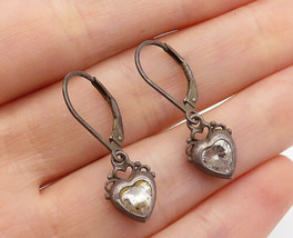925 Sterling Silver - Vintage Love Heart Shaped Topaz Drop Earrings - E8782 - $20.86