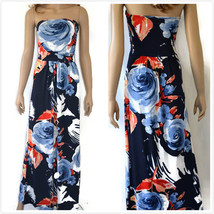 Floral Maxi Strapless Dress Beach Cocktail Party Boho Vacation hawaii d... - $9.99