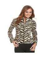 NWT Patrick Christopher Women's Zebra-Print Zip-Front Jacket size 6 - $24.31