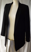 Attitude Women's Long Boyfriend Blazer Jacket Sz 8 $69.99 Black Vented Back - $23.90