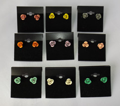 9 Pairs 3-D Sculptural Rose Flower Stud Earrings NEW! Resell/Wear/Gift - $14.84