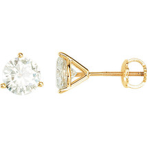 14K Yellow Gold Charles & Colvard Forever One Moissanite threaded Earrings - $338.73+