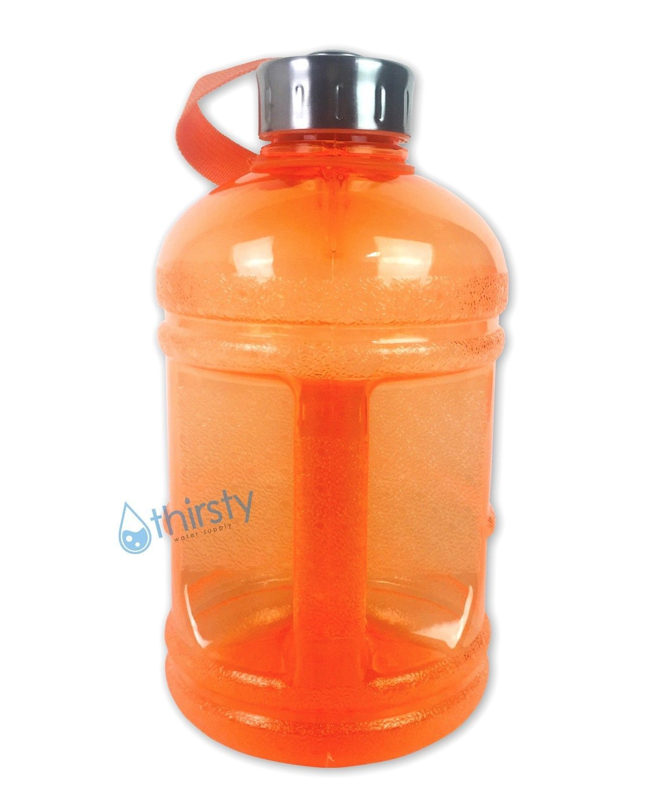 7d0ff1a2fe S l1600. S l1600. Previous. Orange BPA Free Half Gallon Water Bottle  Drinking Jug Canteen Steel Cap 64 oz