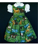 NEW Hand made Running Horses On Meadow Scenic Dress Custom Sz 12 Month-1... - $59.98